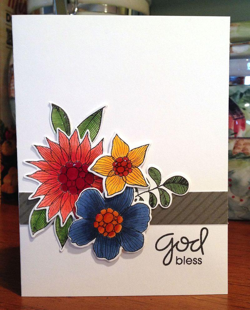 God Bless Summer garden card
