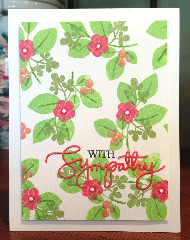 With Sympathy stamped flowers card