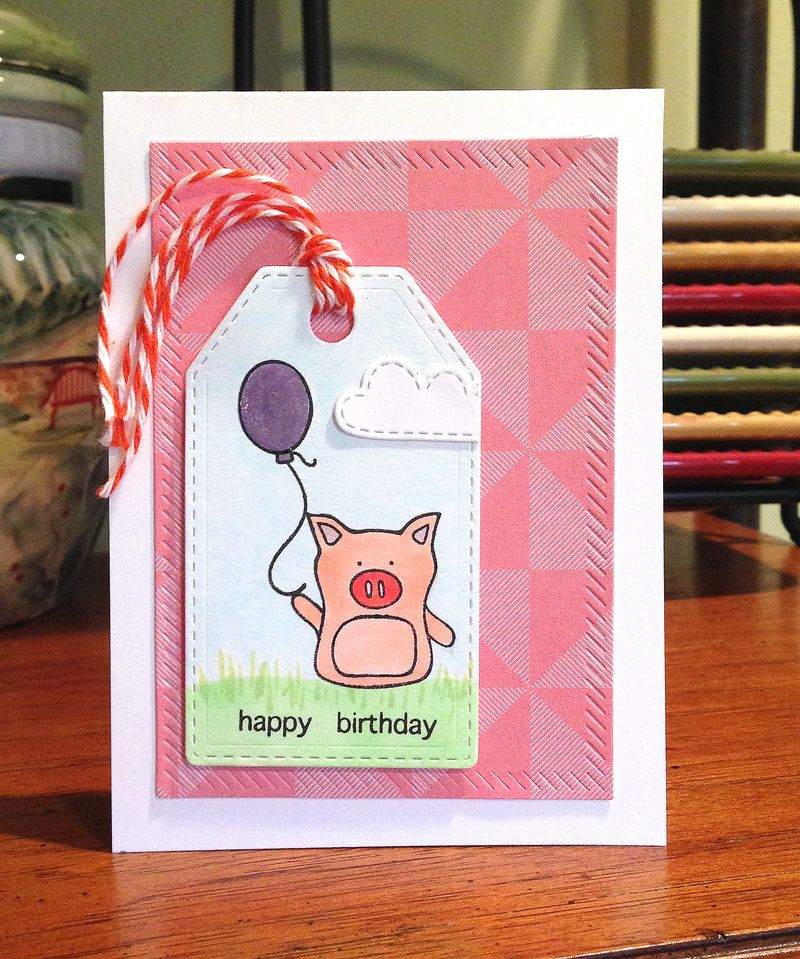 Happy Birthday pig tag card