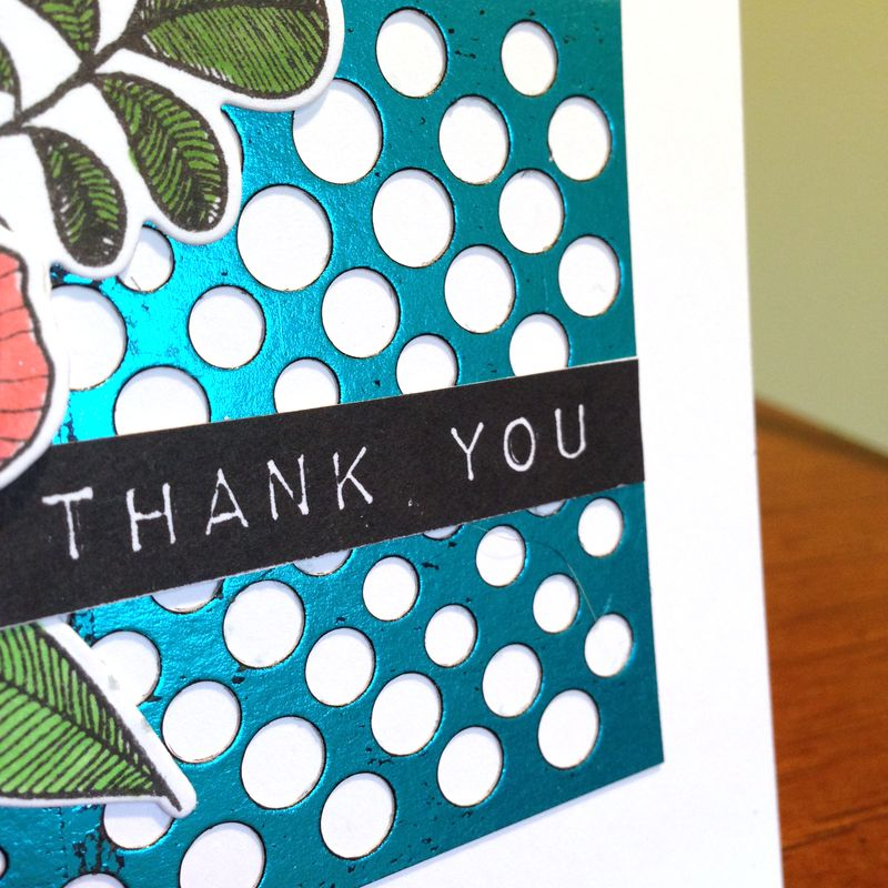 Blue foil dotted background card close up