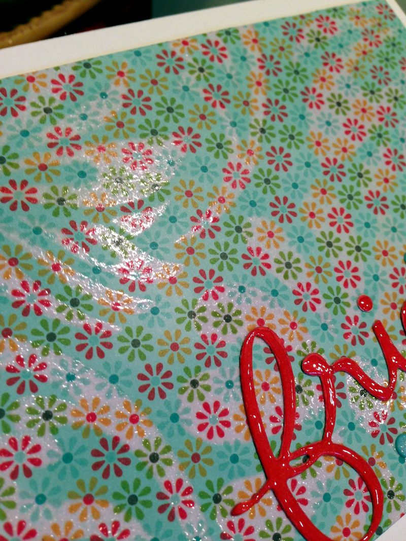 Friend embossed patterned paper card close up