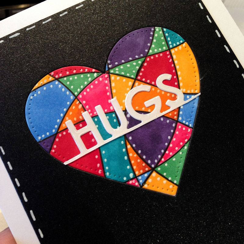 Pop Up challenge hugs card close up