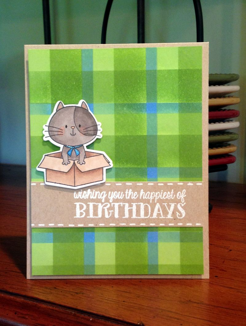 Green plaid birthday card