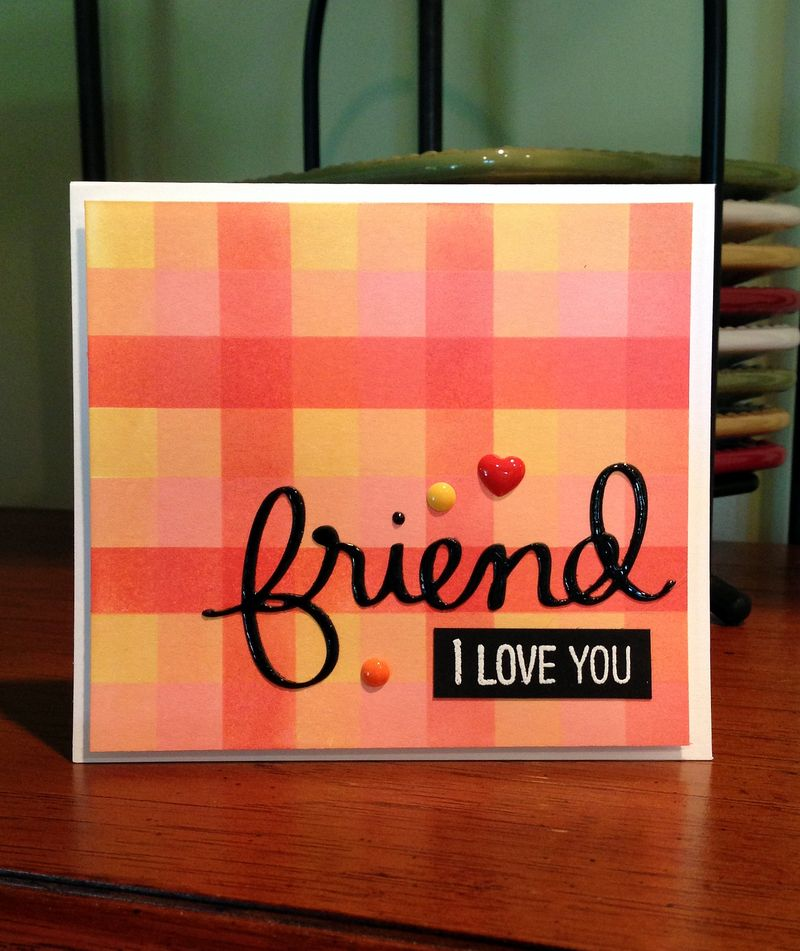 Friend coral plaid card