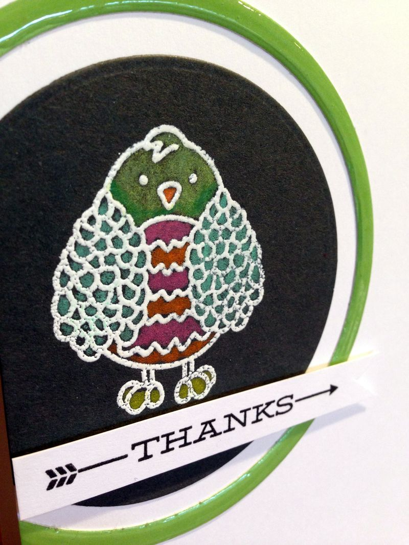 Thanks colored pencil owl card close up