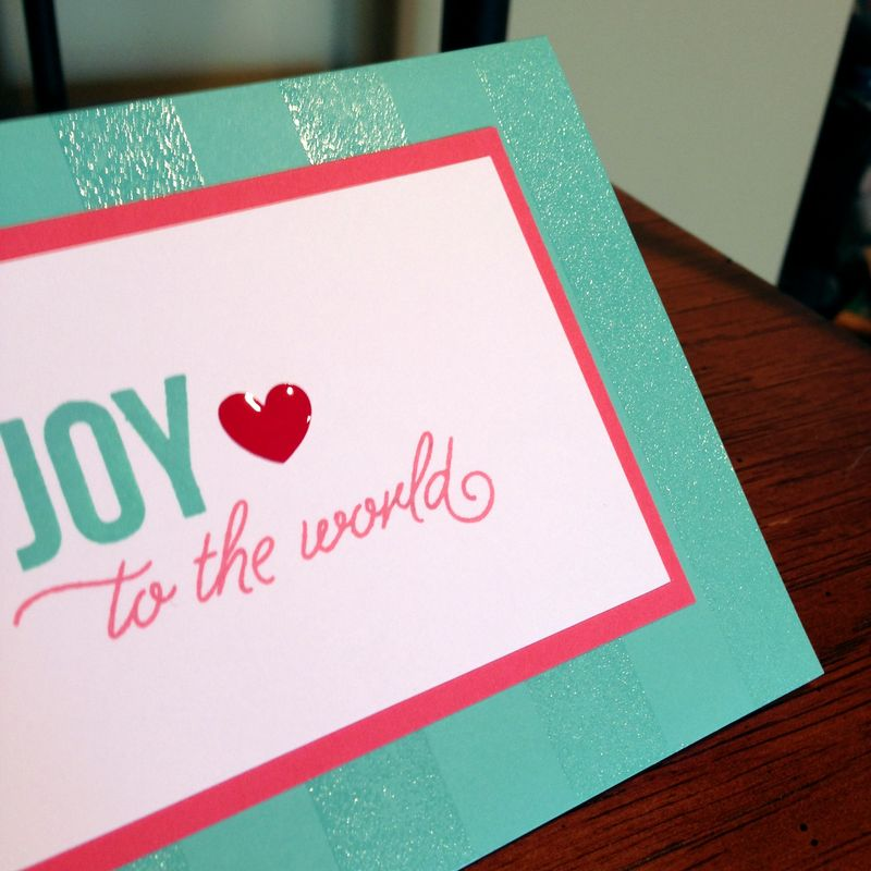Joy to the world stamped card close up