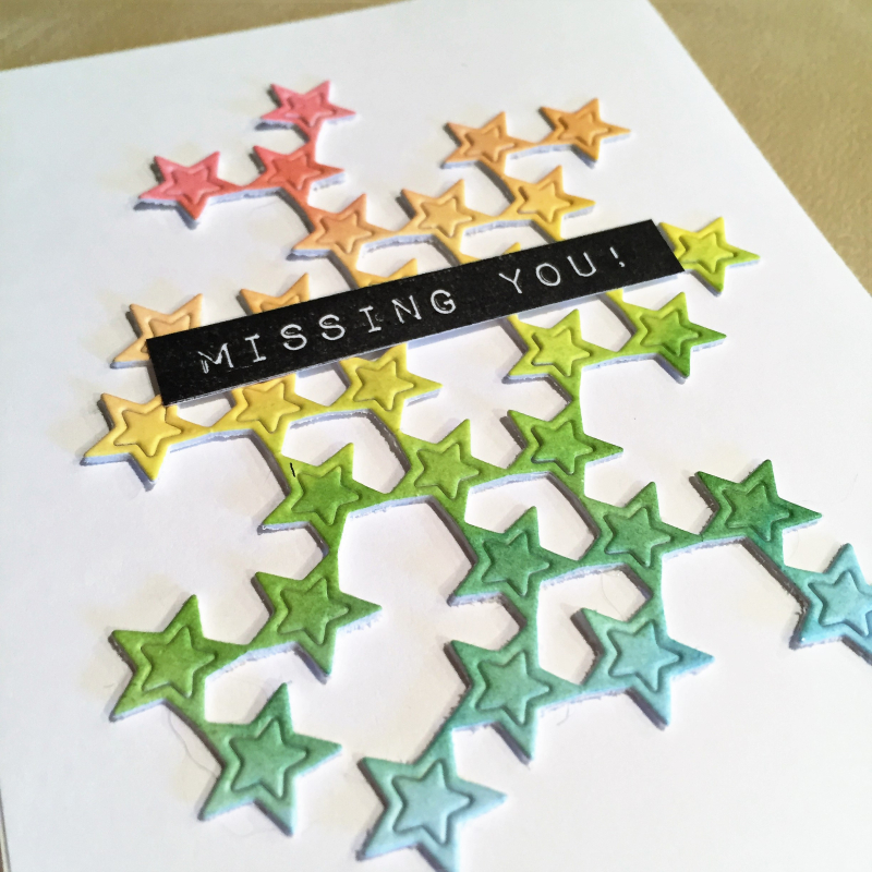 Missing You Scattered stars card close up