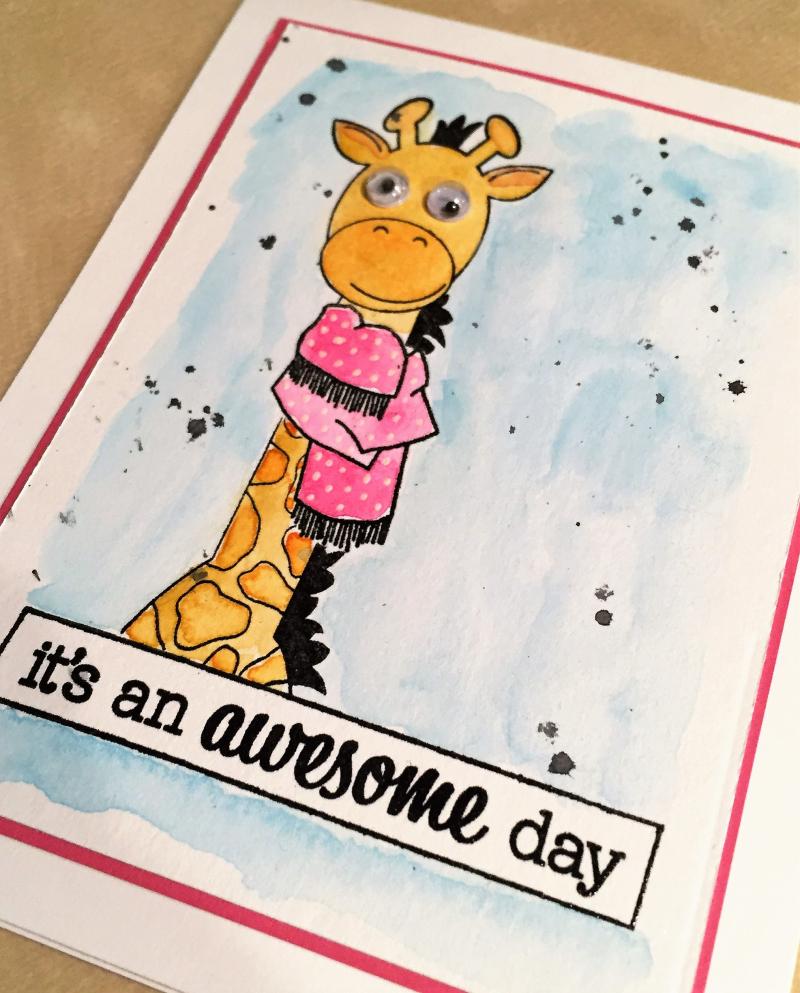Audrey giraffe card close up