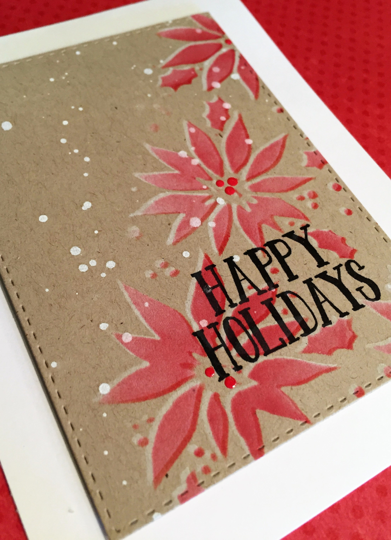 Stamptember 2016 1 poinsettia on craft card close up