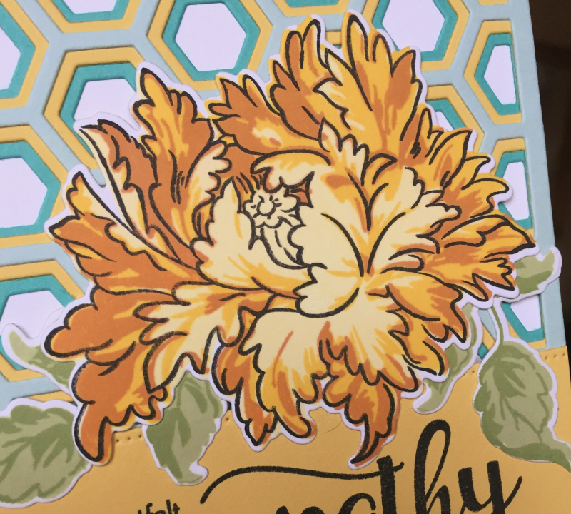 Yellow flower sympathy card close up