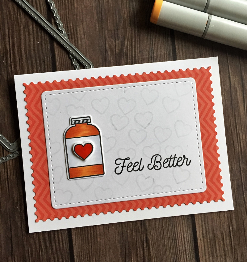 Red pill bottle card