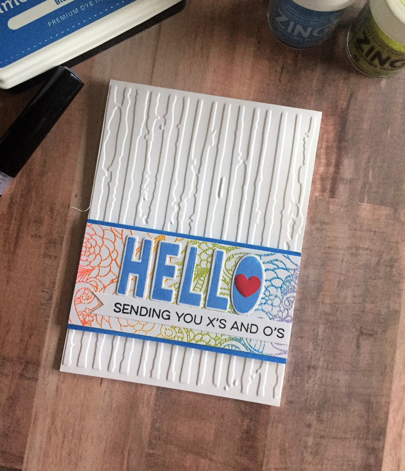 Multi colored embossing card