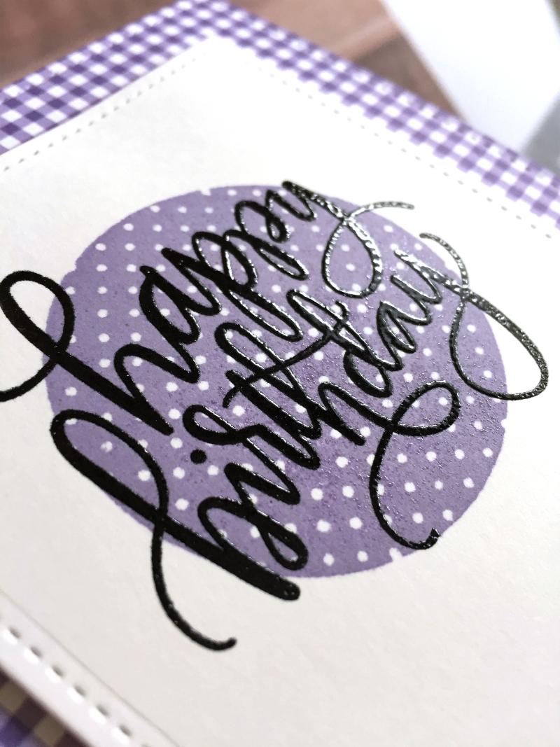 Simple birthday card purple close up