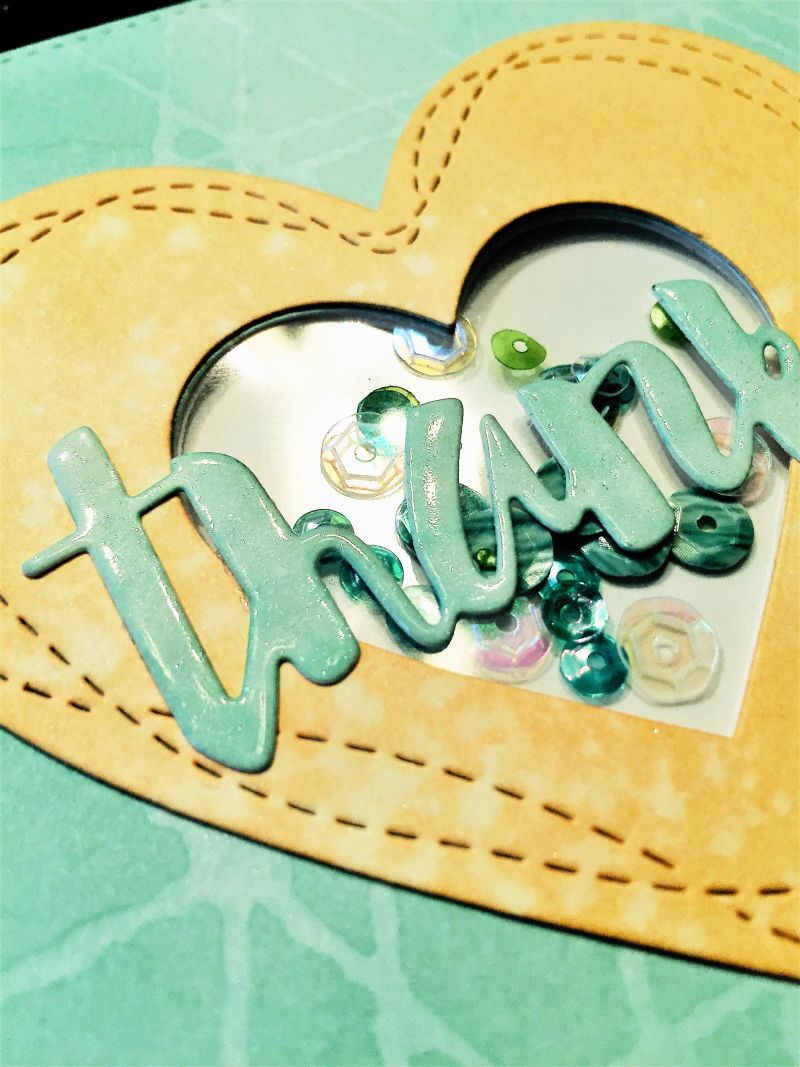 Wonky hearts card close up