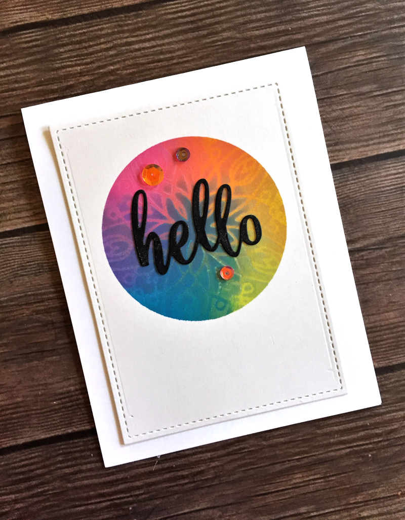 Hello rainbow circle card