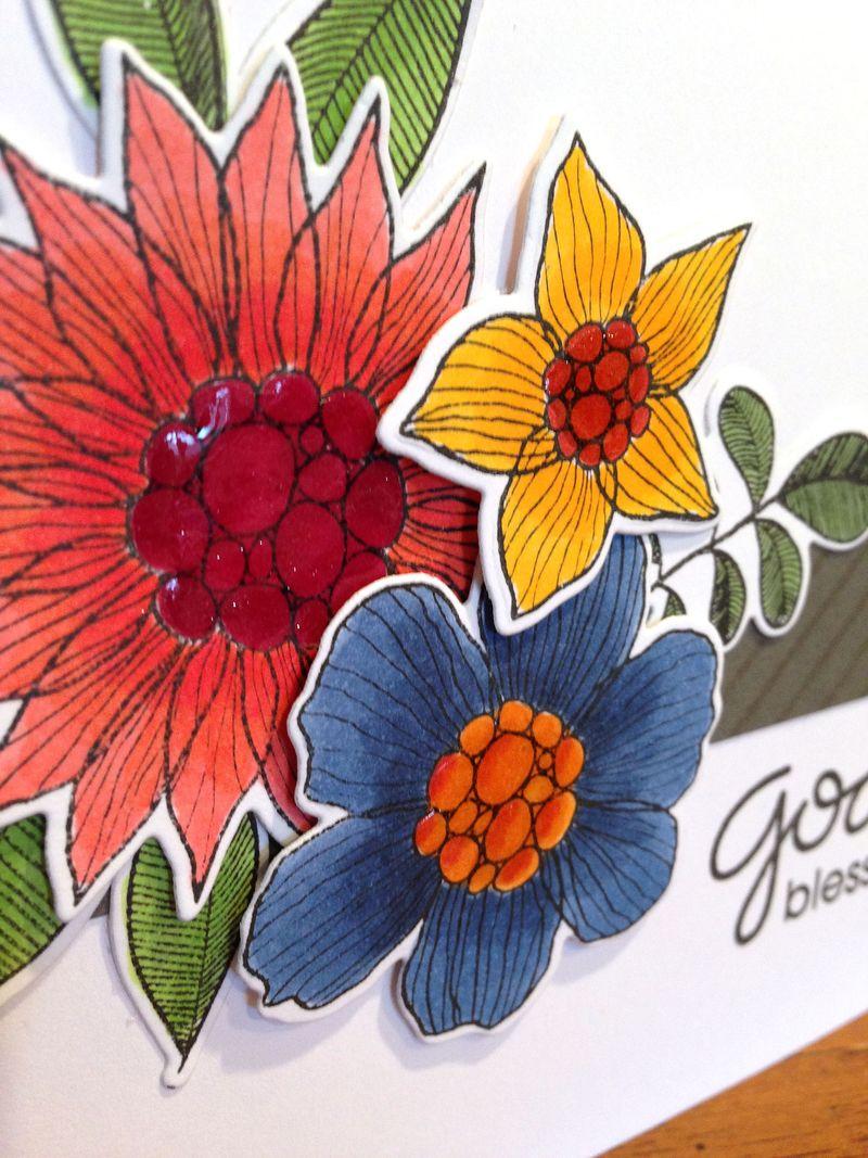 God Bless Summer garden card close up