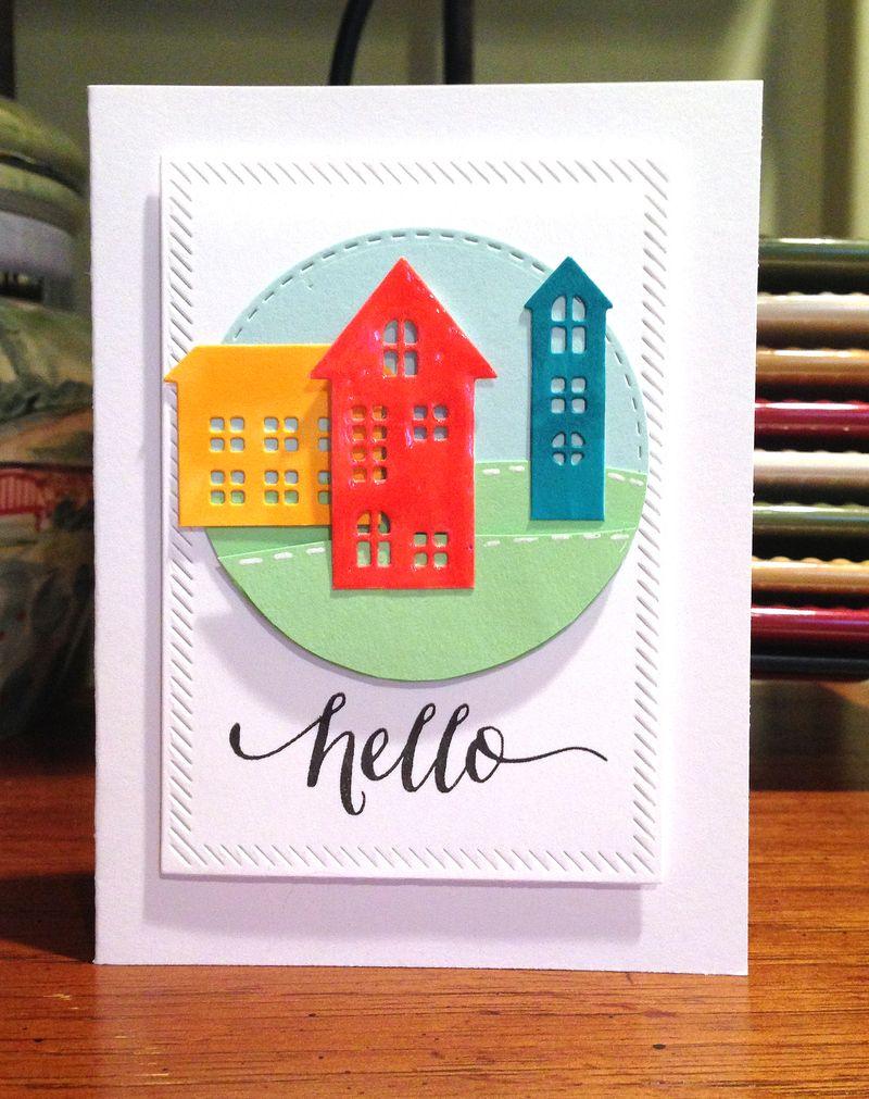Three houses hello card