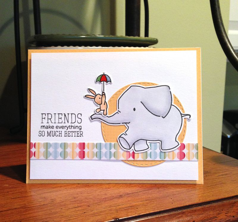Friends make things better elephant card