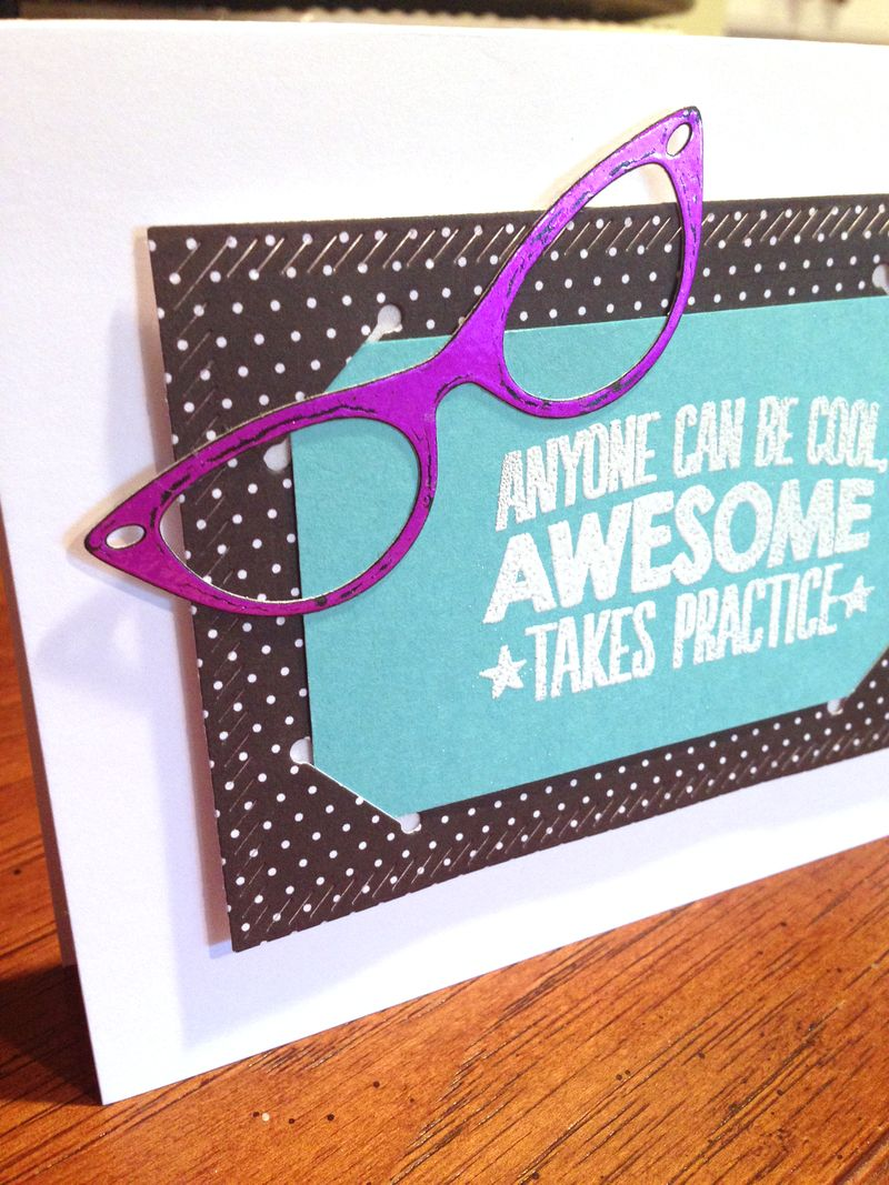 Awesome glasses card for Audrey close up