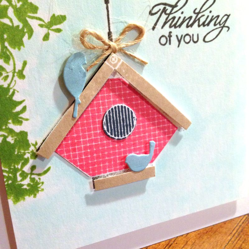 Birdhouse card close up