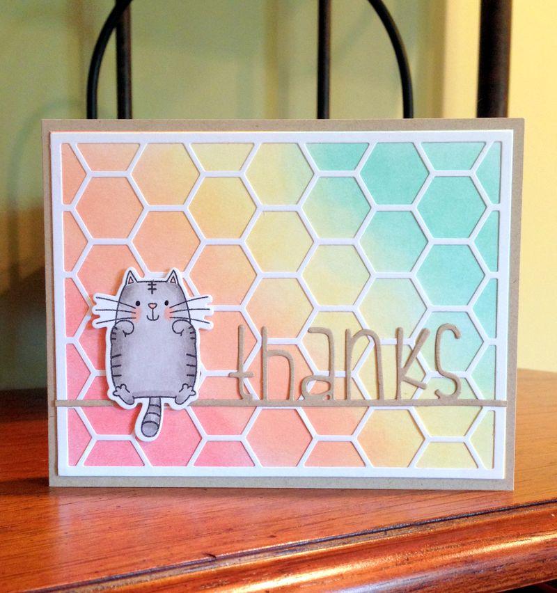 Thanks hexagon cat card
