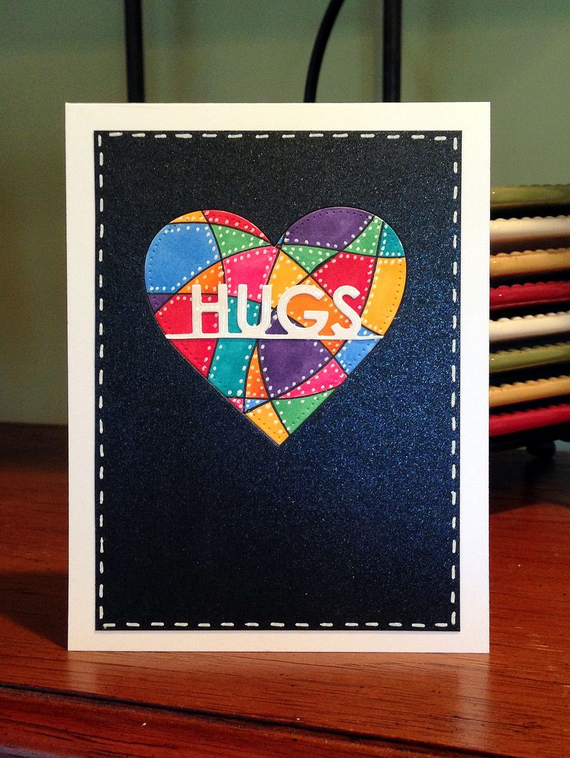 Pop Up challenge hugs card
