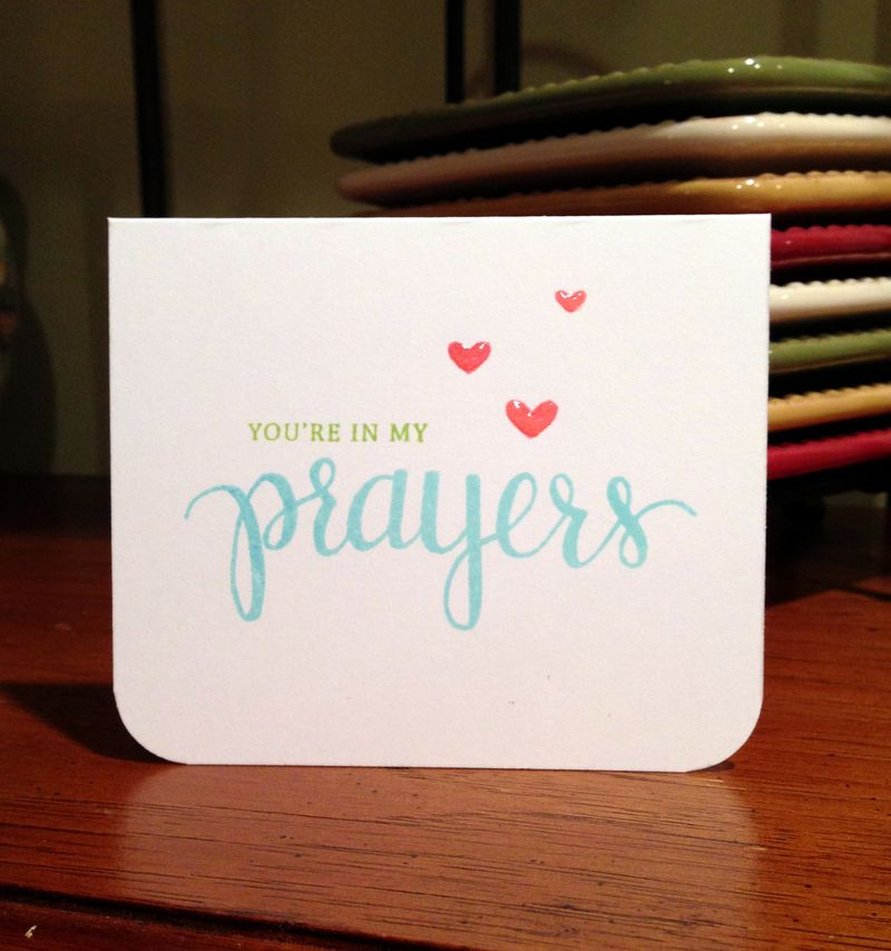 Prayers stamped card
