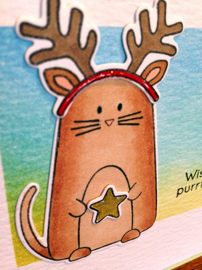 Christmas cats card 2 close up
