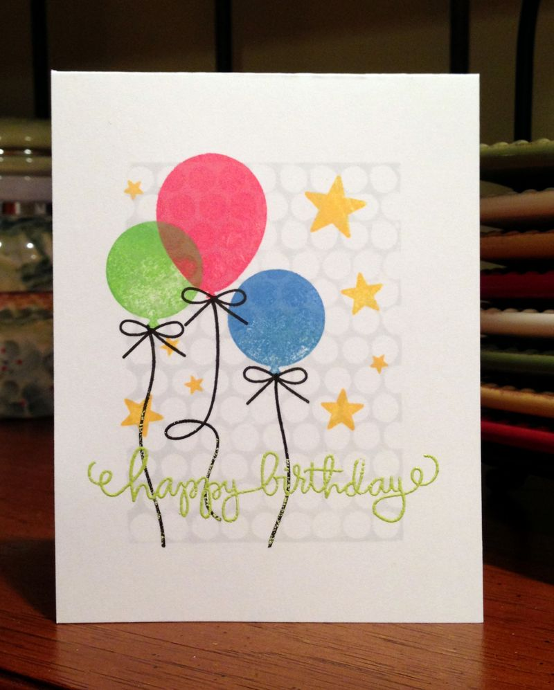 Three balloons birthday card with Punchinella