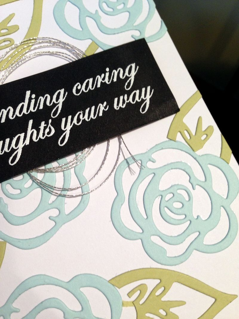 Caring thoughts card close up