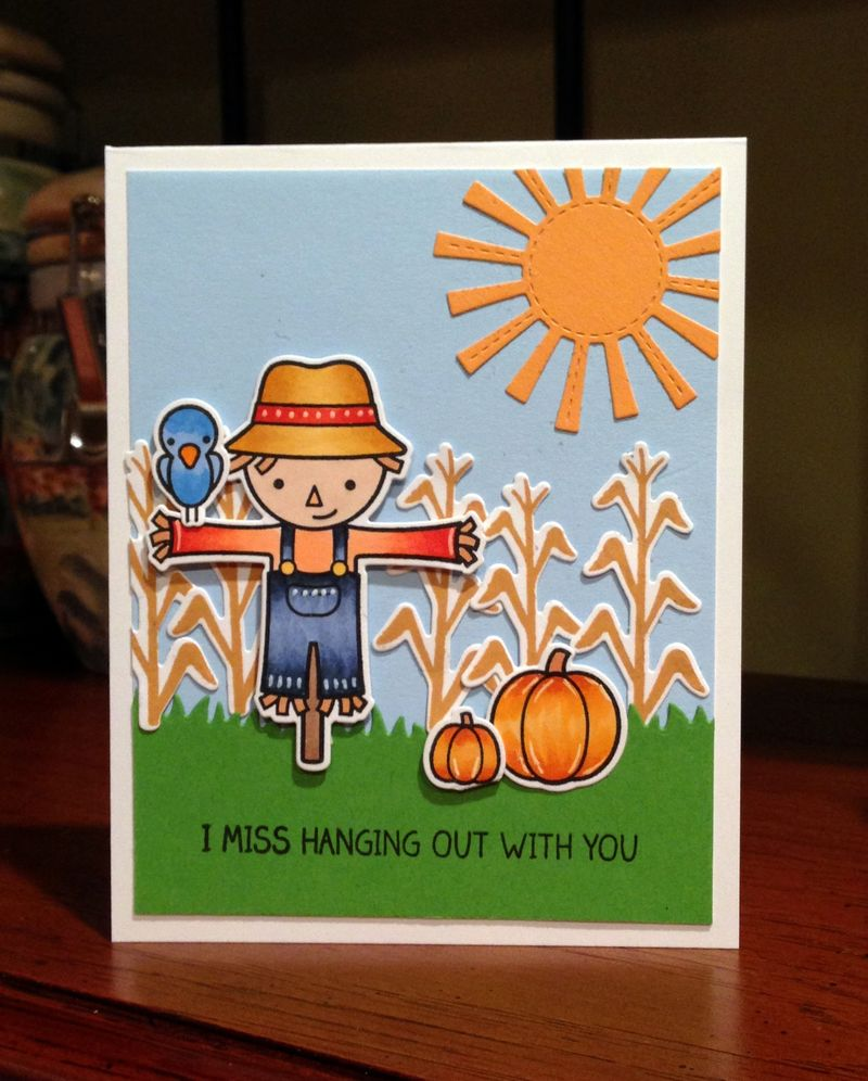Miss hanging scarecrow card