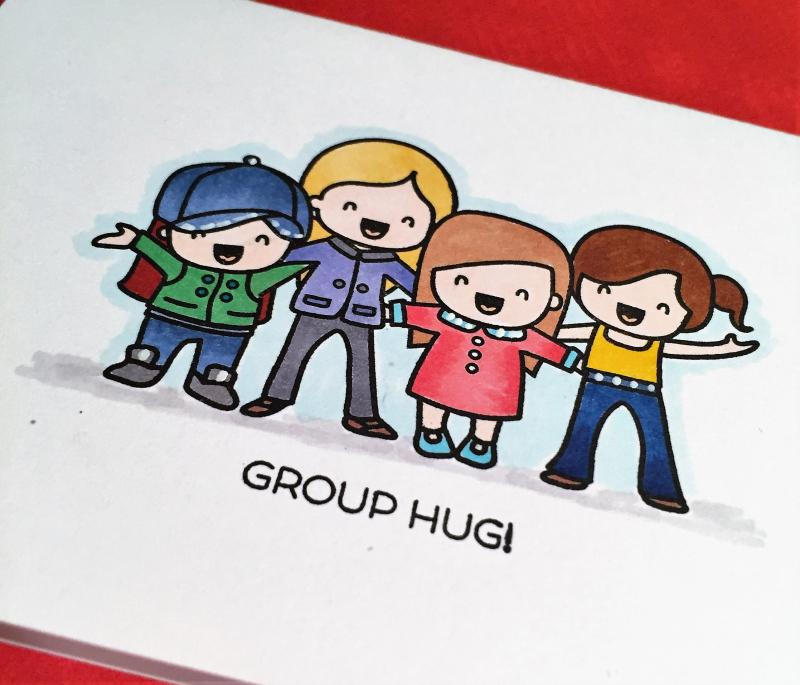 Group hug close up card