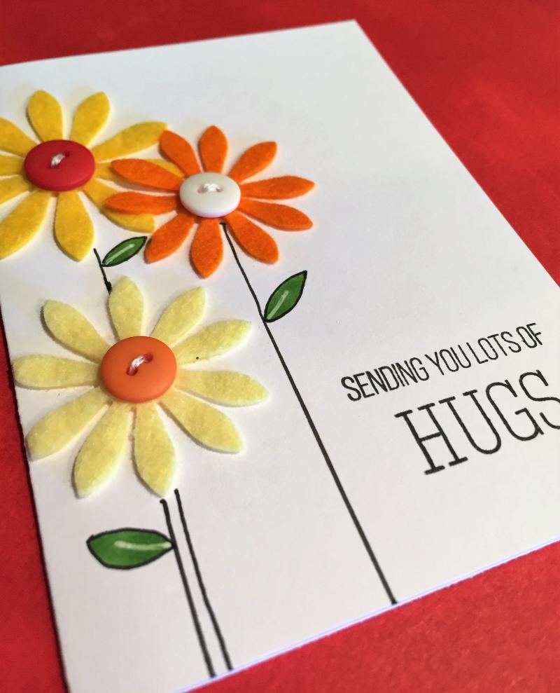 WPlus9 felt flowers card close up 1