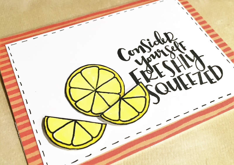 Freshly squeezed card close up