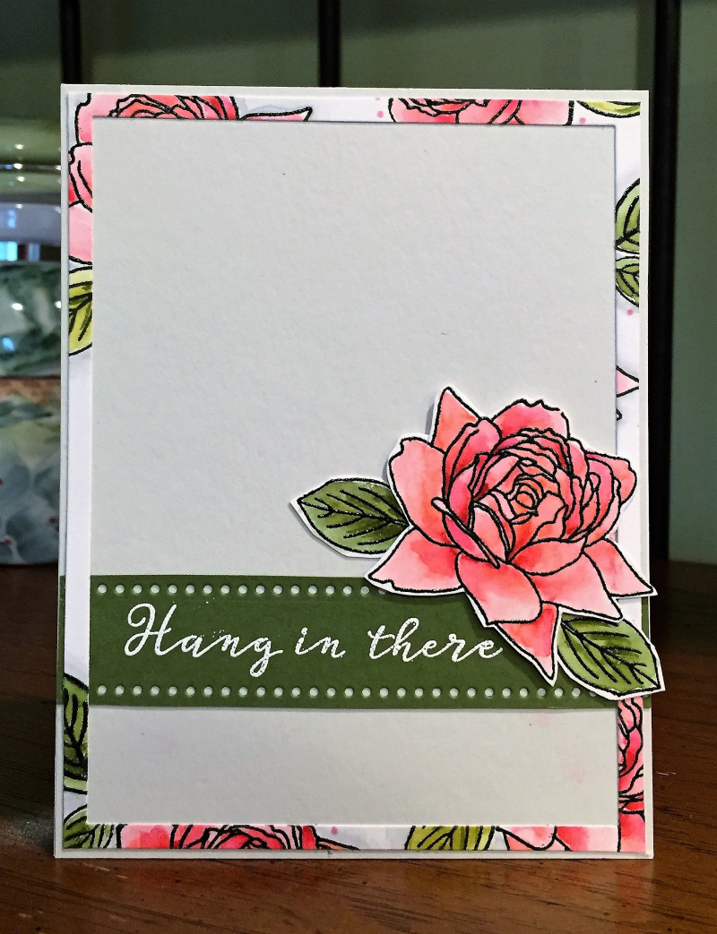 Hang in there rose card standing