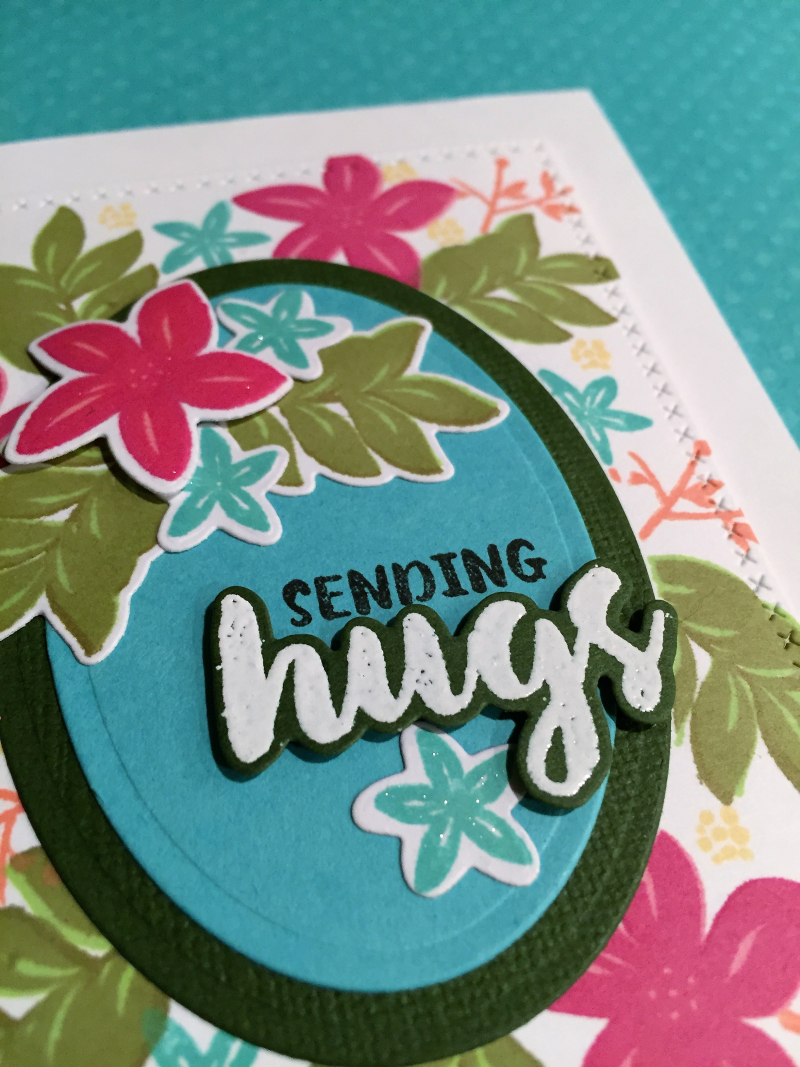 Sending hugs Wplus9 floral card close up