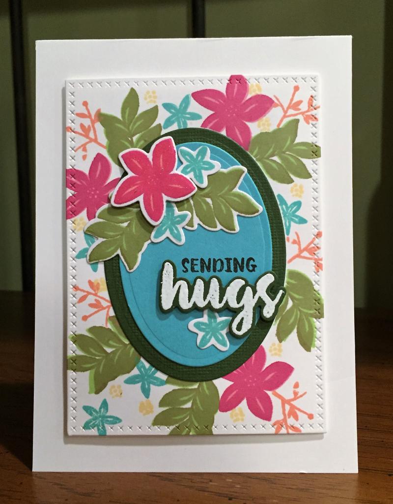 Sending hugs Wplus9 floral card standing