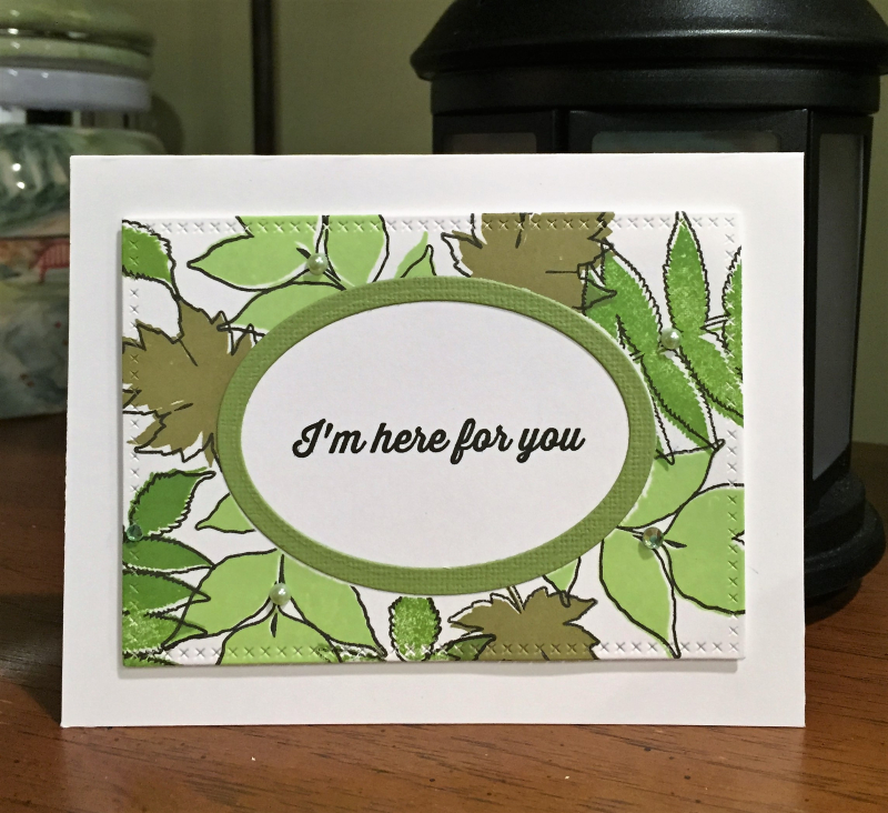 Here for you leaves card standing