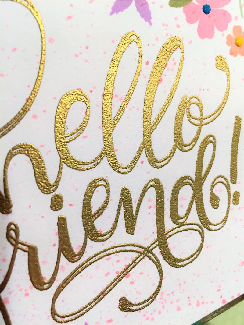 Hello friend flower card close up