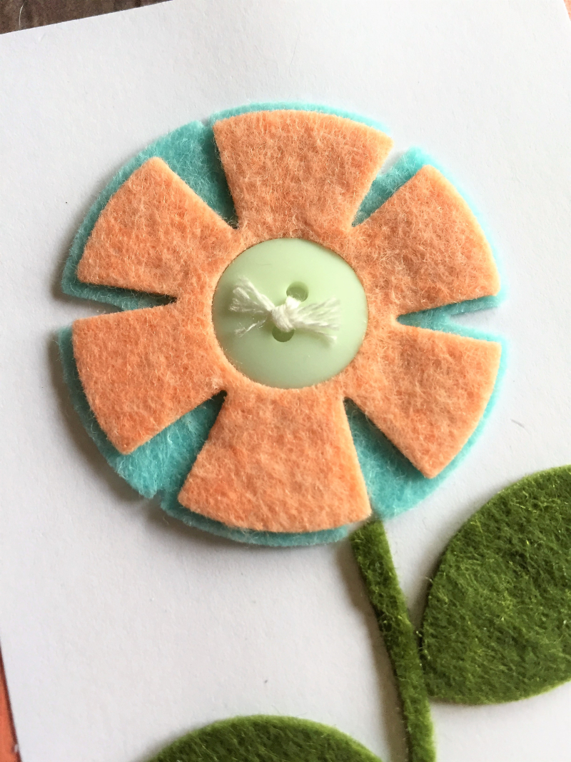 Felt flower card close up