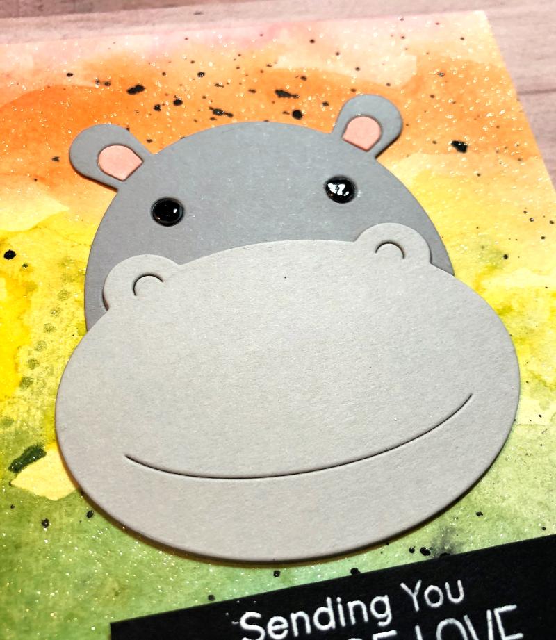 Big hippo card close up