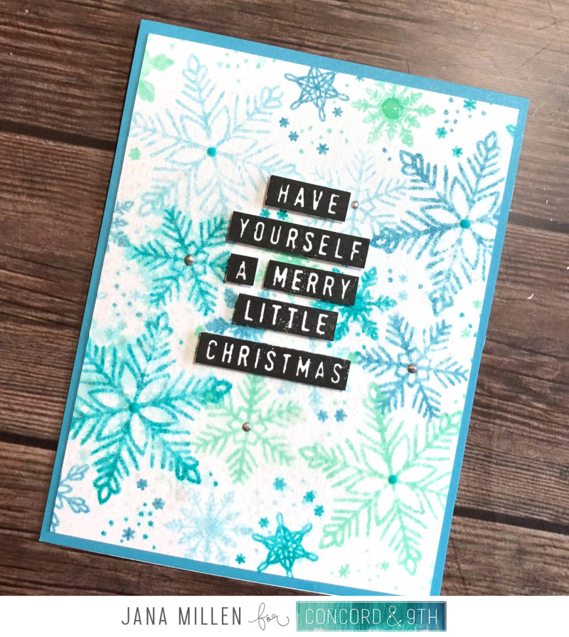 Merry Little Christmas snowflake card with footer