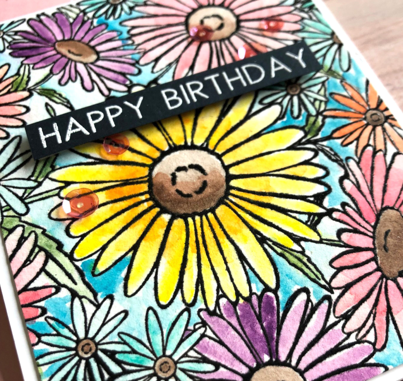 The Ton flowers background card close up
