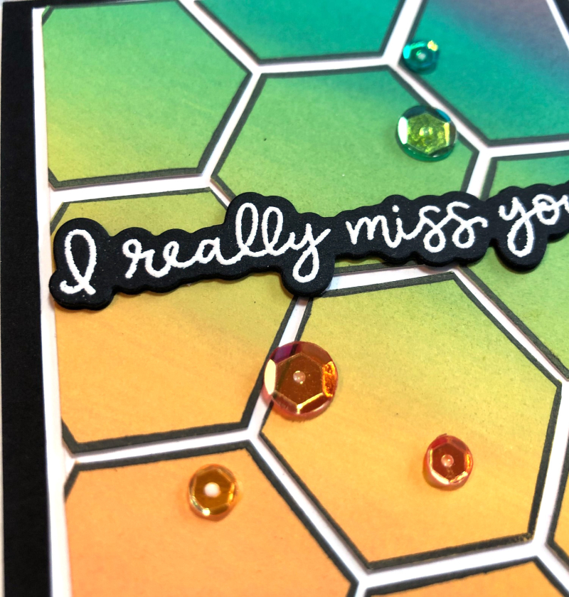 Really miss you hexagon card close up